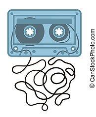vecteur, illustration, de, bleu, endommagé, cassette bande