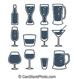 vecteur, illustration, de, boisson, ligne, icons.
