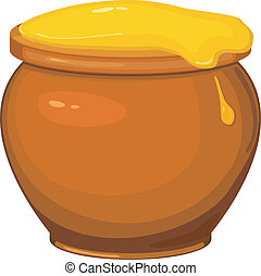vecteur, illustration, de, dessin animé, pot, de, miel