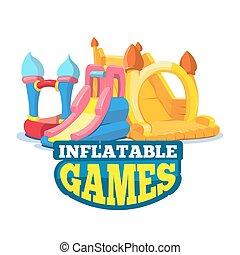 vecteur, illustration, de, gonflable, châteaux, et, enfants,...