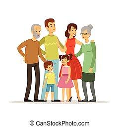 vecteur, illustration, de, grand, famille, à, mère, père, grand-mère, et, grandfather., sourire, peuples, debout, à, action, poses