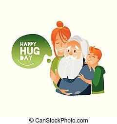 vecteur, illustration, de, heureux, étreinte, jour, bannière, à, enfants, embrasser, grandfather.