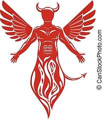 vecteur, illustration, de, humain, cornu, effrayant, créature, fait, à, oiseau, wings., mal, esprit, flamme, demon.