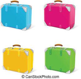 vecteur, illustration, de, icône, ensemble, voyage, valise