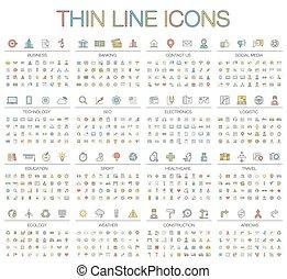 vecteur, illustration, de, ligne mince, couleur, icônes