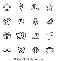 vecteur, illustration, de, ligne mince, icônes, -, été