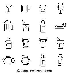 vecteur, illustration, de, ligne mince, icônes, -, boissons
