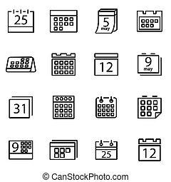 vecteur, illustration, de, ligne mince, icônes, -, calendrier