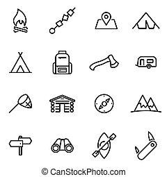 vecteur, illustration, de, ligne mince, icônes, -, camping