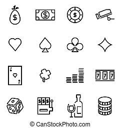 vecteur, illustration, de, ligne mince, icônes, -, casino