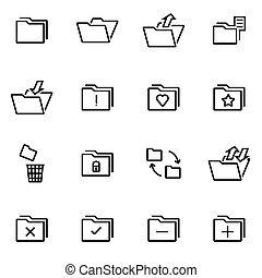 vecteur, illustration, de, ligne mince, icônes, -, dossier