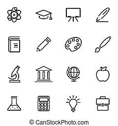 vecteur, illustration, de, ligne mince, icônes, -, education