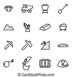 vecteur, illustration, de, ligne mince, icônes, -, exploitation minière