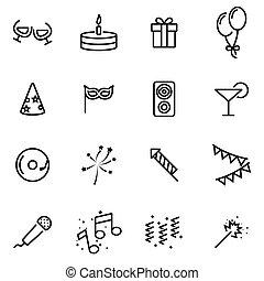 vecteur, illustration, de, ligne mince, icônes, -, fête