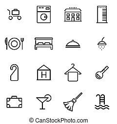 vecteur, illustration, de, ligne mince, icônes, -, hôtel