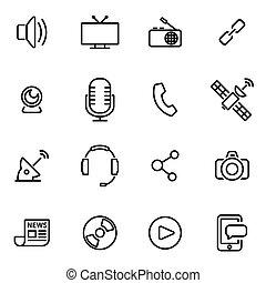 vecteur, illustration, de, ligne mince, icônes, -, média