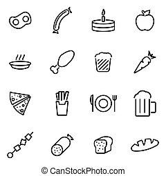 vecteur, illustration, de, ligne mince, icônes, -, nourriture