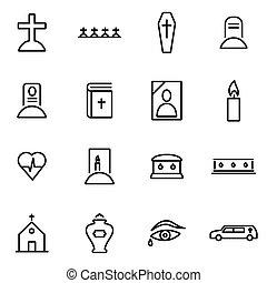 vecteur, illustration, de, ligne mince, icônes, -, obseque