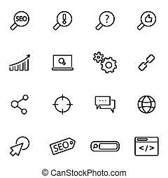 vecteur, illustration, de, ligne mince, icônes, -, seo
