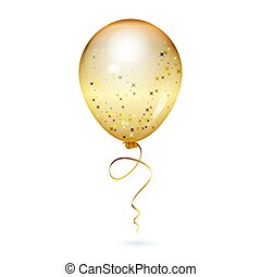 vecteur, illustration, de, or, brillant, balloon