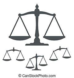 vecteur, illustration, de, silhouette, balances poids
