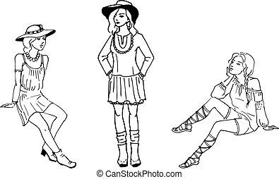 vecteur, illustration, de, trois, beau, mode, girl