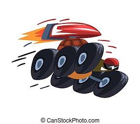 vecteur, illustration, dessin animé, blanc, tortue, roues, animal, jeûne, arrière-plan., caractère, jetpack, tortue
