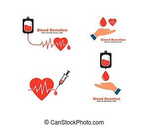 vecteur, illustration, donation sang, icône