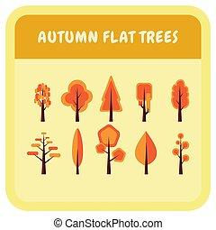 vecteur, illustration, ensemble, arbre, plat, automne