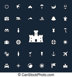 vecteur, illustration, ensemble, de, simple, plage, icons., éléments, bikini, caravane, camping, cocktail, et, autre, synonyms, soleil, homme, et, field.