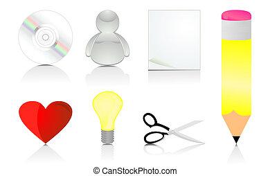 vecteur, illustration, ensemble, icons., bureau