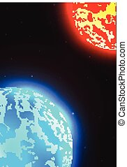 vecteur, illustration espace, planète, étoiles, mars, la terre