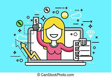 vecteur, illustration, femme, ordinateur portable, cahier,...