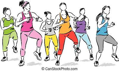 vecteur, illustration, fitness, femmes, groupe