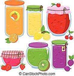 vecteur, illustration, fruit, fait maison, jam., pots, rempli