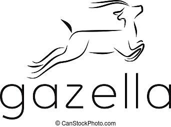 vecteur, illustration, gazelle