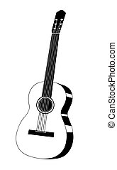 vecteur, illustration, guitare, fond, blanc, dessin