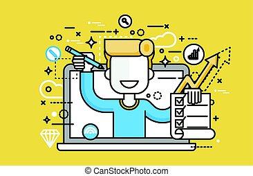 vecteur, illustration, homme, dans, ordinateur portable,...