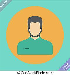 vecteur, -, illustration., homme, icône