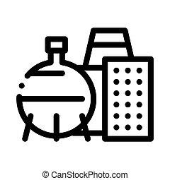 vecteur, illustration, icône, contour, chimique, usine