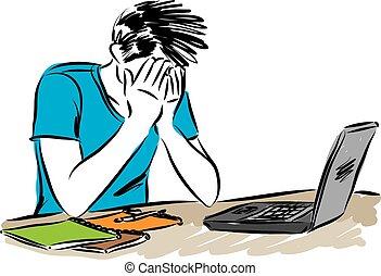 vecteur, illustration, informatique, ordinateur portable, homme
