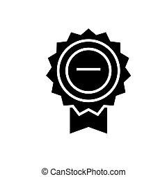 vecteur, illustration, isolé, récompense, signe, base, arrière-plan noir, icône