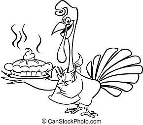 vecteur, illustration, isolated., heureux, conception, jour, turkey., dessin animé, thanksgiving, mignon