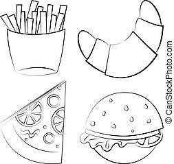vecteur, illustration., jeûne, nourriture.