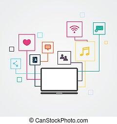 vecteur, illustration., média, concept., infographic, social