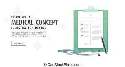 vecteur, illustration médicale, arrière-plan., stylo, presse-papiers, stéthoscope, blanc, bannière, concept.