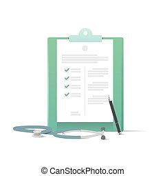 vecteur, illustration médicale, arrière-plan., stylo, presse-papiers, stéthoscope, blanc, concept.