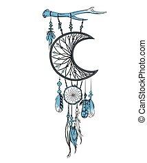 vecteur, illustration, main, dessiné, plumes, catcher., ...
