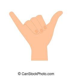 vecteur, illustration, main, shaka, humain, signe