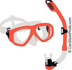 vecteur, illustration, masque, réaliste, orange, plongée,...
